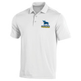 Under Armour White Performance Polo-Primary Mark - Athletics