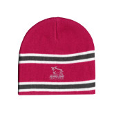 Pink/Charcoal/White Striped Knit Beanie-Primary Mark - Athletics
