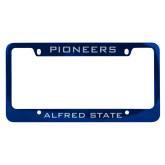 Metal Blue License Plate Frame-Pioneers