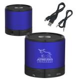 Wireless HD Bluetooth Blue Round Speaker-Primary Mark - Athletics Engraved