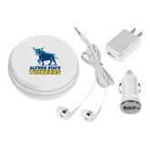 3 in 1 White Audio Travel Kit-Primary Mark - Athletics