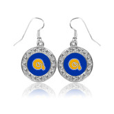 Crystal Studded Round Pendant Silver Dangle Earrings-Primary Mark