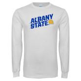 White Long Sleeve T Shirt-Albany State Slanted