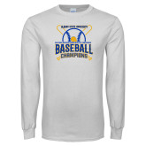 White Long Sleeve T Shirt-2018 SIAC Baseball Champions