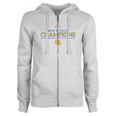 ENZA Ladies White Fleece Full Zip Hoodie-Mens Golf Champions