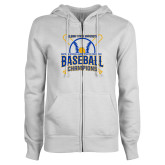 ENZA Ladies White Fleece Full Zip Hoodie-2018 SIAC Baseball Champions