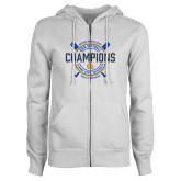 ENZA Ladies White Fleece Full Zip Hoodie-2018 SIAC Softball Champions