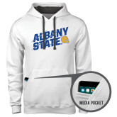 Contemporary Sofspun White Hoodie-Albany State Slanted