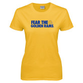 Ladies Gold T Shirt-Fear the Golden Rams