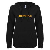 ENZA Ladies Black V Notch Raw Edge Fleece Hoodie-Albany State Golden Rams