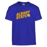 Youth Royal T Shirt-Albany State Slanted