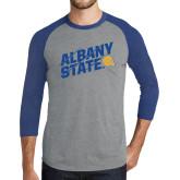 Grey/Royal Heather Tri Blend Baseball Raglan-Albany State Slanted