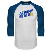 White/Royal Raglan Baseball T Shirt-Albany State Slanted