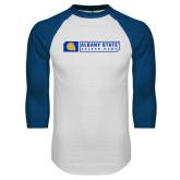 White/Royal Raglan Baseball T Shirt-Albany State Golden Rams
