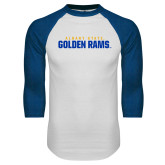 White/Royal Raglan Baseball T Shirt-Wordmark