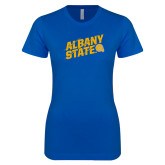 Next Level Ladies SoftStyle Junior Fitted Royal Tee-Albany State Slanted