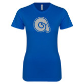 Next Level Ladies SoftStyle Junior Fitted Royal Tee-Primary Mark White Soft Glitter