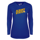 Ladies Syntrel Performance Royal Longsleeve Shirt-Albany State Slanted