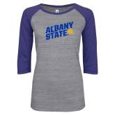 ENZA Ladies Athletic Heather/Blue Vintage Baseball Tee-Albany State Slanted