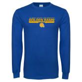 Royal Long Sleeve T Shirt-Stacked Golden Rams Design