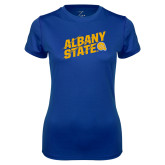 Ladies Syntrel Performance Royal Tee-Albany State Slanted