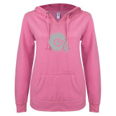 ENZA Ladies Hot Pink V Notch Raw Edge Fleece Hoodie-Primary Mark White Soft Glitter