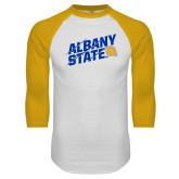 White/Gold Raglan Baseball T Shirt-Albany State Slanted