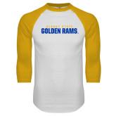 White/Gold Raglan Baseball T Shirt-Wordmark