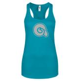 Next Level Ladies Tahiti Blue Ideal Racerback Tank-Primary Mark White Soft Glitter