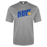 Performance Grey Heather Contender Tee-Albany State Slanted