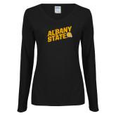 Ladies Black Long Sleeve V Neck Tee-Albany State Slanted
