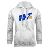 White Fleece Hoodie-Albany State Slanted