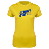 Ladies Syntrel Performance Gold Tee-Albany State Slanted