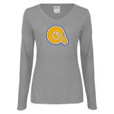 Ladies Grey Long Sleeve V Neck Tee-Primary Mark