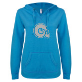 ENZA Ladies Pacific Blue V Notch Raw Edge Fleece Hoodie-Primary Mark White Soft Glitter