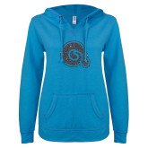 ENZA Ladies Pacific Blue V Notch Raw Edge Fleece Hoodie-Primary Mark Graphite Soft Glitter