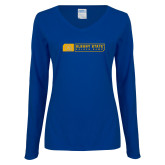 Ladies Royal Long Sleeve V Neck Tee-Albany State Golden Rams