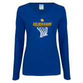Ladies Royal Long Sleeve V Neck Tee-Basketball Net Design