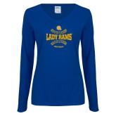 Ladies Royal Long Sleeve V Neck Tee-Softball Design
