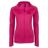 Ladies Tech Fleece Full Zip Hot Pink Hooded Jacket-Primary Mark