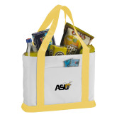 Contender White/Gold Canvas Tote-Official Logo
