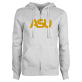 ENZA Ladies White Fleece Full Zip Hoodie-ASU