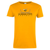 Ladies Gold T Shirt-Football Field