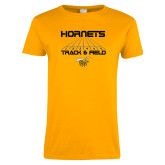 Ladies Gold T Shirt-Track and Field Lanes