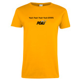 Ladies Gold T Shirt-Yeah State