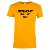 Ladies Gold T Shirt-Straight Out of ASU