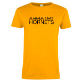 Ladies Gold T Shirt-Alabama State Hornets Stacked