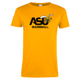 Ladies Gold T Shirt-Baseball