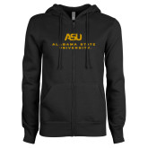 ENZA Ladies Black Fleece Full Zip Hoodie-ASU Alabama State University