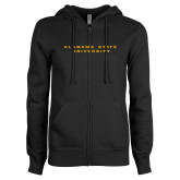 ENZA Ladies Black Fleece Full Zip Hoodie-Alabama State University